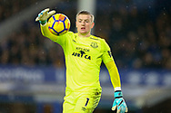 Everton Goalkeeper Jordan Pickford in action. Premier league match, Everton v Manchester Utd at Goodison Park in Liverpool, Merseyside on New Years Day, Monday 1st January 2018.<br /> pic by Chris Stading, Andrew Orchard sports photography.