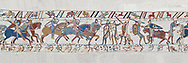 Bayeux Tapestry scene 56: Norman caalry breaks through Saxon lines and Harolds army is slaughtered. BYX56 .<br /> <br /> If you prefer you can also buy from our ALAMY PHOTO LIBRARY  Collection visit : https://www.alamy.com/portfolio/paul-williams-funkystock/bayeux-tapestry-medieval-art.html  if you know the scene number you want enter BXY followed bt the scene no into the SEARCH WITHIN GALLERY box  i.e BYX 22 for scene 22)<br /> <br />  Visit our MEDIEVAL ART PHOTO COLLECTIONS for more   photos  to download or buy as prints https://funkystock.photoshelter.com/gallery-collection/Medieval-Middle-Ages-Art-Artefacts-Antiquities-Pictures-Images-of/C0000YpKXiAHnG2k
