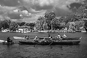 Walton, Great Britain,  Men's Double at the start, moving away from the Stake Boats, Walton Reach Regatta, River Thames. Walton on Thames, Skiff and Punting Regatta  <br /> <br /> Saturday  19/08/2017<br /> <br /> [Mandatory Credit. Peter Spurrier/Intersport Images] River Thames .......... Summer, Sport, Dark Stormy Skies, Skilful, ..... Black and White. Conversion from Digital.