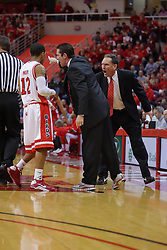 """31 January 2009: Coach Tim Jankovich and Rob Judson have a discussion with Lloyd Phillips. The Illinois State University Redbirds join the Bradley Braves in a tie for 2nd place in """"The Valley"""" with a 69-65 win on Doug Collins Court inside Redbird Arena on the campus of Illinois State University in Normal Illinois"""