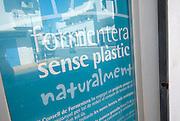 Formentera without plastic campaign poster, Sant Francesc, Formentera