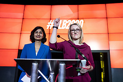 © Licensed to London News Pictures. 17/01/2020. Manchester, UK. REBECCA LONG-BAILEY (r) gives a thumbs up at the end of a speech and Q&A , stood next to Coventry South MP ZARAH SULTANA . Salford & Eccles MP Rebecca Long-Bailey launches her campaign to succeed Jeremy Corbyn in the race for Labour Party leadership , at an event in the Museum of Science and Industry in Manchester City Centre . Photo credit: Joel Goodman/LNP