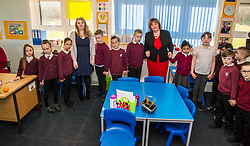 Pictured: Ms Hyslop joined in with a total of 24 pupils to complete a circuit to power the lap top<br /> <br /> Culture Secretary Fiona Hyslop MSP unveiled cash awards for Youth Music Initiative schemes which will help young people learn about and enjoy music. Ms Hyslop made the announcement when she joined schoolchildren at Longstone Primary School, Edinburgh today.<br /> <br /> <br /> Ger Harley | EEm 8 March 2018