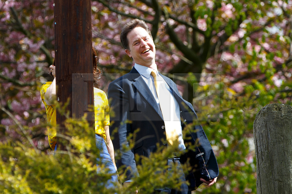© Licensed to London News Pictures. 07/05/2015. Sheffield, UK. Liberal Democrat leader and Deputy Prime Minister Nick Clegg and his wife Miriam González Durántez voting in the 2015 General Election in Sheffield Hallam Constituency at Hall Park Centre Polling Station on Thursday, 7 May 2015. Photo credit : Tolga Akmen/LNP