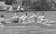 Kingston on Thames, United Kingdom.   No.3 Miriam BATTEN, Thames RC. W4+, competing in the  final Round of the Leyland Daf Sprint series, at Kingston RC on the River Thames, Surrey, England, <br /> <br /> Saturday 04.05.1987<br /> <br /> [Mandatory Credit; Peter Spurrier/Intersport-images] 1987 Leyland Daf Sprints, Kingston. UK