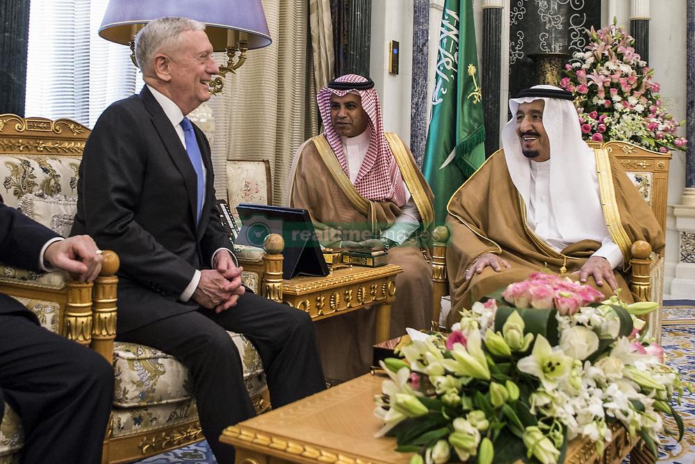 Apr 19, 2017 - Riyadh, Saudi Arabia - Defense Secretary JIM MATTIS meets with Saudi King SALMAN BIN ABDULAZIZ AL-SAUD in Riyadh, Saudi Arabia, April 19, 2017. DoD photo by Air Force Tech. Sgt. Brigitte N. Brantley. (Credit Image: ? Brigitte N. Brantley/DoD via ZUMA Wire/ZUMAPRESS.com)