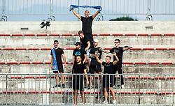 Supporters of Celje during football match between NK Triglav and NK Celje in 7th Round of Prva liga Telekom Slovenije 2019/20, on August 25, 2019 in Sports park, Kranj, Slovenia. Photo by Vid Ponikvar / Sportida