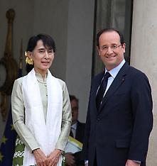 Francois Hollande and Aung San Suu Kyi Myanmar 26-6-12