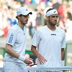 29.06.2011, Wimbledon, London, GBR, ATP World Tour, Wimbledon Tennis Championships, im Bild Andy Murray (GBR) and Feliciano Lopez (ESP) after the Gentlemen's Singles Quarter-Final match on day nine of the Wimbledon Lawn Tennis Championships at the All England Lawn Tennis and Croquet Club. EXPA Pictures © 2011, PhotoCredit: EXPA/ Propaganda/ David Rawcliffe +++++ ATTENTION - OUT OF ENGLAND/UK +++++
