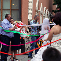 Europe, Russia, Moscow. Traditional Russian Wedding taking place outside the Tretyakov Museum.