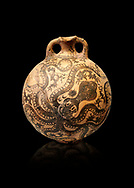 Minoan 2 handled flask with Marine style stylised octopus design,   Palaikastro,  1500-1450 BC; Heraklion Archaeological  Museum, black background .<br /> <br /> If you prefer to buy from our ALAMY PHOTO LIBRARY  Collection visit : https://www.alamy.com/portfolio/paul-williams-funkystock/minoan-art-artefacts.html . Type -   Heraklion   - into the LOWER SEARCH WITHIN GALLERY box. Refine search by adding background colour, place, museum etc<br /> <br /> Visit our MINOAN ART PHOTO COLLECTIONS for more photos to download  as wall art prints https://funkystock.photoshelter.com/gallery-collection/Ancient-Minoans-Art-Artefacts-Antiquities-Historic-Places-Pictures-Images-of/C0000ricT2SU_M9w