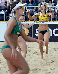 17-07-2014 NED: FIVB Grand Slam Beach Volleybal, Apeldoorn<br /> Poule fase groep G vrouwen - Laura Ludwig GER