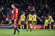 Arsenal Forward, Olivier Giroud (12) turns away to celebrate after scoring a goal 3-3 during the Premier League match between Bournemouth and Arsenal at the Vitality Stadium, Bournemouth, England on 3 January 2017. Photo by Adam Rivers.