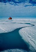 Russian icebreaker Sovetsky Soyuz breaking solid pack ice enroute to North Pole