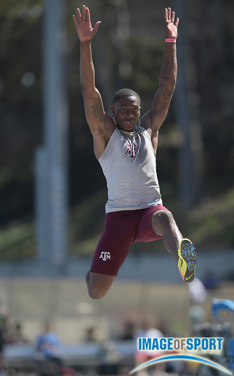 Apr 14, 2018; Los Angeles, CA, USA; Will Williams of Texas A&M wins the long jump at 26-4 1/2 (8.04m) during the Rafer Johnson/Jackie joyner-Kersee Invitational at Drake Stadium.