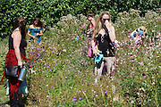 Young mothers with their children picking flowers at 'Blooming Green Flowers', Kent<br /><br />Jen is the owner at 'Blooming Green Flowers'. She runs the farm with her partner Bek. Blooming Green Flowers is a British flower farm is near Marden Kent, south of Maidstone, not far from London. Wedding parties come to collect their flowers, typically on a Thursday, Friday or Saturday morning. In the summer, on Friday afternoons families, everyone, from the very young to old come to pick flowers. Cost £10 a container.<br /><br />British local flowers, grown nearby, count for around 10% of the UK market, traveling less than a tenth of their foreign counterparts which are often flown in from abroad. Nearly 90% of the flowers sold in the UK are actually imported, and many travel over 3000 miles. Local flower farms help biodiversity, providing food and habitat to a huge variety of wildlife, insects including butterflies, bugs, and bees. Often local flower farmers prefer to grow organic rather than using pesticides. British flowers bloom all the year around, even in the depths of winter, and there are local flower farms throughout the country.<br /><br />Many people like the idea of the just picked from the garden look, and come to flower farms throughout Britain to pick their own for weddings, parties and garden fetes. Others come for the joy of a day out in the countryside with their family. Often a bride and her family will come to pick the flowers for her own wedding, some even plant the seeds earlier in the year.