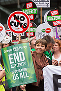 Caroline Lucas MP at the People's Assembly Against Austerity 'End Austerity Now' demonstration attended by over 250,000 people on Saturday 20th of June 2015 sending a clear message to the Tory government; demanding an alternative to austerity and to policies that only benefit those at the top. London, UK.