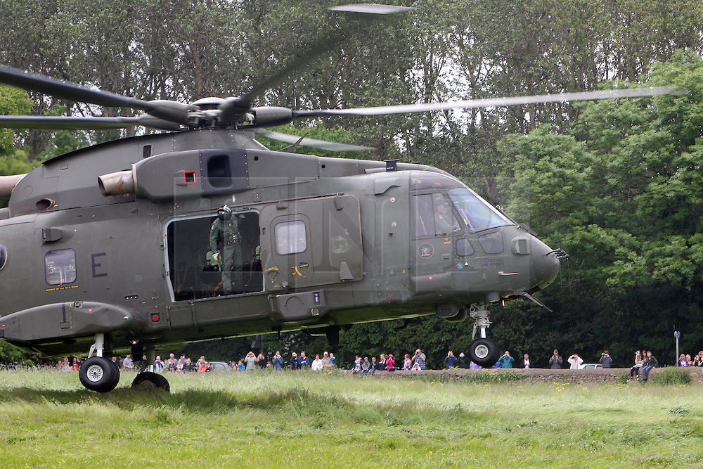 ©Licensed to London News Pictures. 07/06/2012.Stanwick, Northamptonshire. The aircraft takes off today. A Merlin helicopter from 78 Squadron made a controlled emergency landing in a field yesterday (06 June 2012) after neoprene tape used on rotors to protect the aircraft from operations in Afghanistan came unstuck during an exercise. No one was injured and the aircraft took off this morning.  Photo credit: Steven Prouse/ LNP.