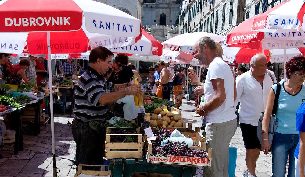 Fruit and vegetable market stalls in Dubrovnik, Croatia