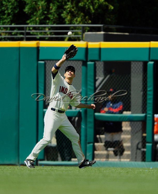 Cleveland Indians center fielder Grady Sizemore makes a putout in center field against Tampa Bay on July 12, 2008 in Cleveland.