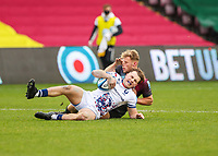 Rugby Union - 2020 / 2021 Gallagher Premiership - Round 4 - Harlequins vs Bristol Bears  - The Stoop<br /> <br /> Louis Lynagh, of Harlequins, son of former Australian captain Michael, makes his debut forcing a Bristol bears player to the ground <br /> <br /> COLORSPORT/DANIEL BEARHAM