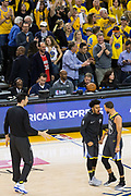 Golden State Warriors guard Stephen Curry (30) celebrates during a timeout against the Houston Rockets during Game 4 of the Western Conference Finals at Oracle Arena in Oakland, Calif., on May 22, 2018. (Stan Olszewski/Special to S.F. Examiner)