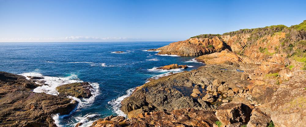 Rocky headland at Tathra on the southern New South Wales coast, Australia. High resolution panorama.