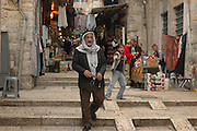 The market in the narrow cobble stoned alleys Old city, Jerusalem, Israel