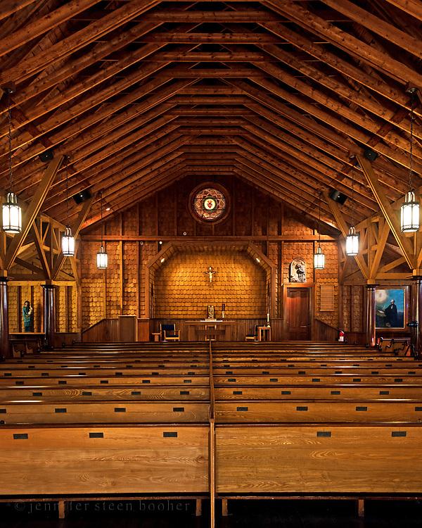 Window 1 above altar.<br /> <br /> St. Ignatius of Loyola Catholic Church, Northeast Harbor, Maine.