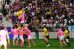 April 7, 2018 - Paris, France - Clermont Flanker JUDICAEL CANCORIET in action during the French rugby championship Top 14 match between Stade Francais and Clermont at Jean Bouin Stadium in Paris - France..Stade Francais won 50-13 (Credit Image: © Pierre Stevenin via ZUMA Wire)