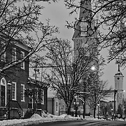 Limited edition photograph of a wintery scene along Princess Anne Street in Fredericksburg, Virginia.