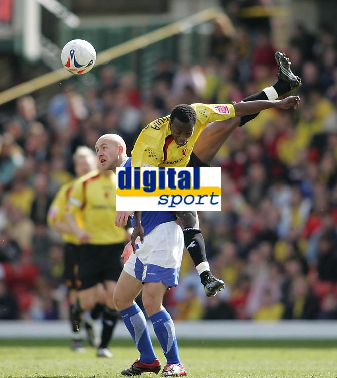 Photo: Lee Earle.<br /> Watford v Ipswich Town. Coca Cola Championship. 17/04/2006. Ipswich's Matt Richards (L) clashes with Al Bangura.