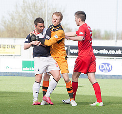 Raith Rovers keeper Lee Robinson holds Falkirk's Mark Millar.<br /> Falkirk 2 v 1 Raith Rovers, Scottish Championship game played today at The Falkirk Stadium.<br /> © Michael Schofield.