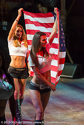 Patriotic start to the concert at Arizona Bike Week's Cycle Fest at Westworld. USA. April 5, 2014.  Photography ©2014 Michael Lichter.