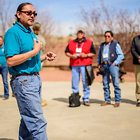 Bryan Neztsosie describes testing chemical composition of soils during 2018 Diné Bich'iya (Navajo Food Sovereignty) Summit activities at the Navajo Nation Museum in Window Rock Saturday.