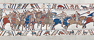 Bayeux Tapestry scene 48 :  Duke Williams Norman cavalry advance on Harols Saxons. .<br /> <br /> If you prefer you can also buy from our ALAMY PHOTO LIBRARY  Collection visit : https://www.alamy.com/portfolio/paul-williams-funkystock/bayeux-tapestry-medieval-art.html  if you know the scene number you want enter BXY followed bt the scene no into the SEARCH WITHIN GALLERY box  i.e BYX 22 for scene 22)<br /> <br />  Visit our MEDIEVAL ART PHOTO COLLECTIONS for more   photos  to download or buy as prints https://funkystock.photoshelter.com/gallery-collection/Medieval-Middle-Ages-Art-Artefacts-Antiquities-Pictures-Images-of/C0000YpKXiAHnG2k