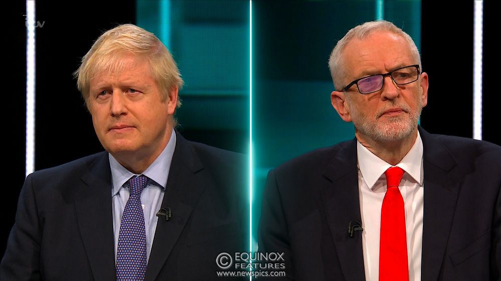 Broadcast TV, United Kingdom - 19 November 2019<br /> Labour leader Jeremy Corbyn and Prime Minister Boris Johnson debate live on ITV tonight as part of the 2019 general election campaign.<br /> (supplied by: Supplied by: EQUINOXFEATURES.COM)<br /> Picture Data:<br /> Contact: Equinox Features<br /> Date Taken: 20191119<br /> Time Taken: 203538<br /> www.newspics.com