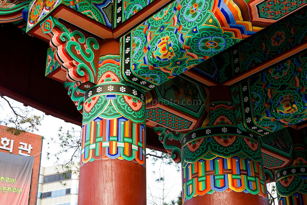 Ilchumun, The One Pillar Gate indicates the boundary between the spiritual world of the temple and the secular world outside...Jogye-sa Buddhist Temple, Seoul, South Korea. Jogyesa is the main temple of the Jogye Order of Korean Buddhism, and has a important part in Seon Buddhism. Located in Gyeonji-dong, Jongno-gu within in the old city of Seoul.