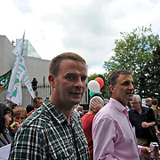 Shane Dillon, First Mate of Gaza flotilla boat Challenger 1, at a demonstration against Israel's raid on the Gaza aid flotilla in Dublin.