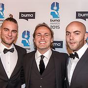NLD/Hilversum/20150217 - Inloop Buma Awards 2015, Wouter Janssen, John Ewbank en Sjoerd