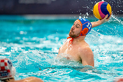Jesse Koopman of the Netherlands in action against Croatia during the Olympic qualifying tournament. The Dutch water polo players are on the hunt for a starting ticket for the Olympic Games on February 15, 2021 in Rotterdam