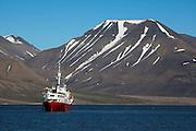 Adventure cruise ship Antarctic Dream in Adventfjorden, near Longyearbyen, Svalbard