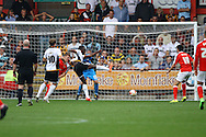 Port Vale's Jordan Slew shoots wide of goal. Skybet football league one match, Crewe Alexandra v Port Vale at the Alexandra Stadium in Crewe on Saturday 13th Sept 2014.<br /> pic by Chris Stading, Andrew Orchard sports photography.