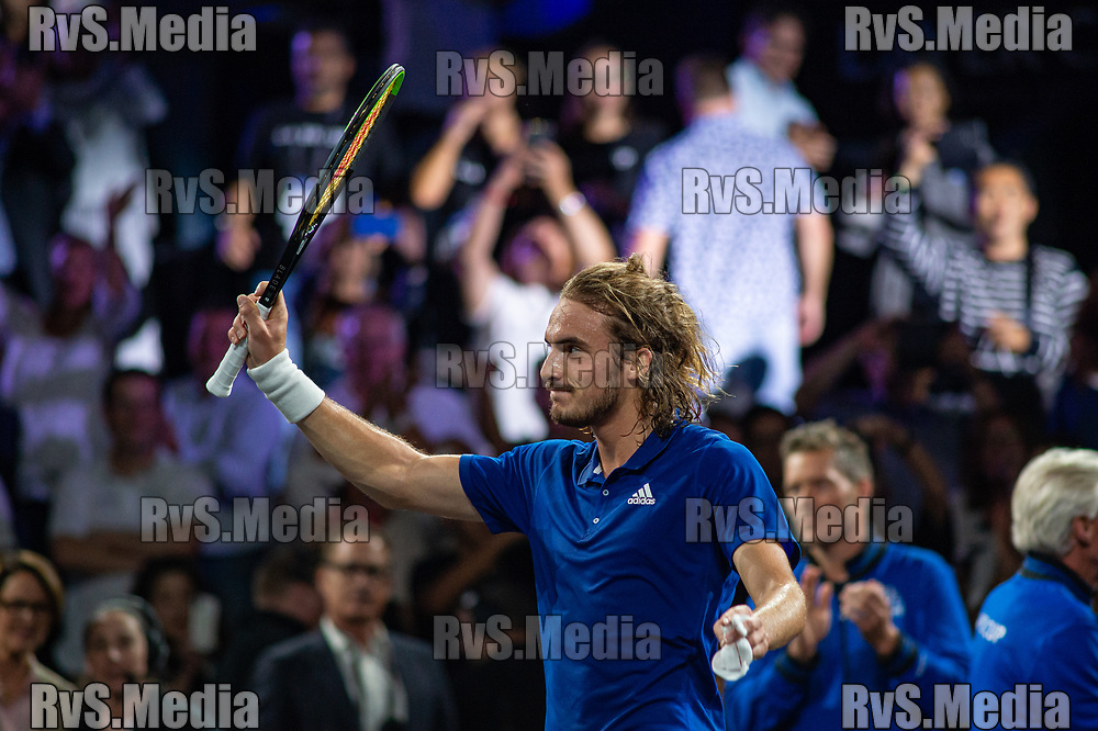 GENEVA, SWITZERLAND - SEPTEMBER 20: Stefanos Tsitsipas of Team Europe celebrates his win during Day 1 of the Laver Cup 2019 at Palexpo on September 20, 2019 in Geneva, Switzerland. The Laver Cup will see six players from the rest of the World competing against their counterparts from Europe. Team World is captained by John McEnroe and Team Europe is captained by Bjorn Borg. The tournament runs from September 20-22. (Photo by Monika Majer/RvS.Media)