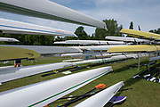 """Henley on Thames, United Kingdom, 23rd June 2018, Saturday,   """"Henley Women's Regatta"""",  view, Various Rowing Boats racked and stored on Fawley Meadow, Henley Reach, River Thames, England, © Peter SPURRIER/Alamy Live News"""