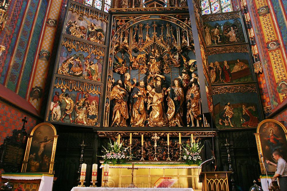 Krakow, Poland. Altar Pentateuch of St. Mary's Church in Main Market Square.