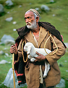 A shepherd holds a young white goat in the Kulu Valley of Himachal Pradesh, northern India.