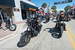 Samantha Campana, Dana Cooley and the Iron Lillies on the Hot Leathers ride in downtown Daytona during the Daytona Bike Week 75th Anniversary event. FL, USA. Tuesday March 8, 2016.  Photography ©2016 Michael Lichter.