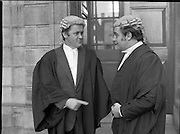 An Tanaiste Called To The Bar.  (P2)..1981..16.11.1981..11.16.1981..16th November 1981..An Tanaiste, Mr Michael O'Leary TD was called to the Bar at The Supreme Court in Dublin today..Image shows Mr O'Leary being congratulated by Attorney General, Mr Peter Sutherland at the Four Courts.