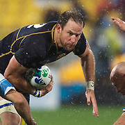 Graeme Morrison, Scotland, in action during the Argentina V Scotland, Pool B match at the IRB Rugby World Cup tournament. Wellington Regional Stadium, Wellington, New Zealand, 25th September 2011. Photo Tim Clayton...